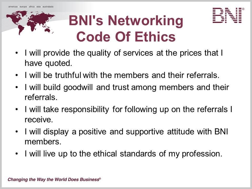 bni networking code of ethics bni houston west region pinterest