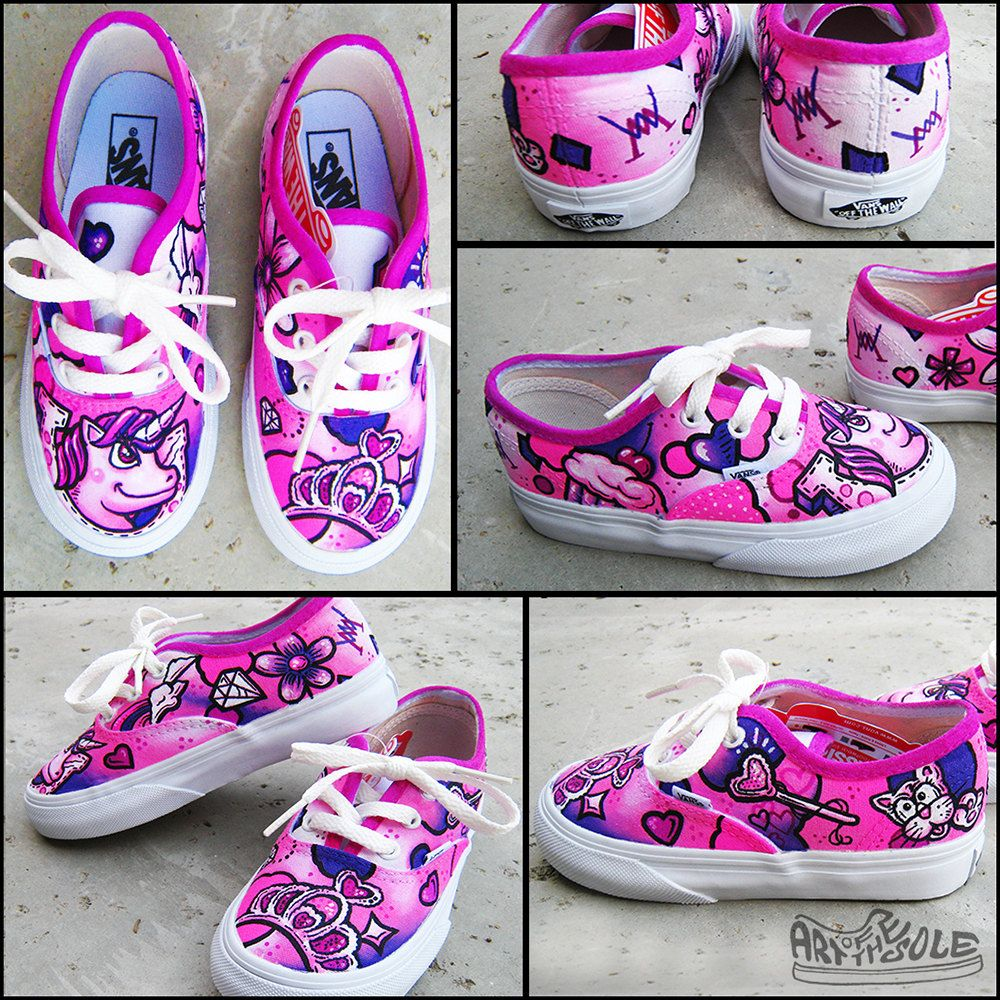 3372141465f8 Pretty Princess Custom Handpainted Vans Shoes for Kids by ArtOfTheSole on  Etsy