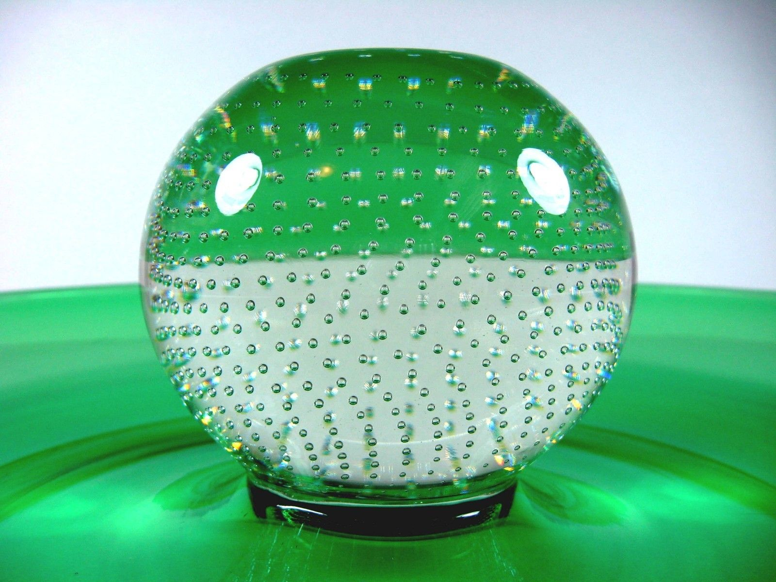Emerald Art Glass details about large 50s erickson emerald art glass crystal bubble