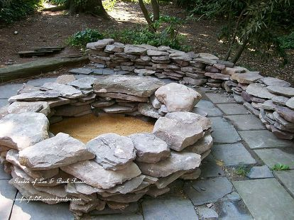 Build your own Fire Pit ~ Our Fairfield Home & Garden is part of Home garden Fire Pits - Build your own stacked stone fire pit with rustic benches and tables made from logs  This project was completed over two days and transformed a weedy slate pati…