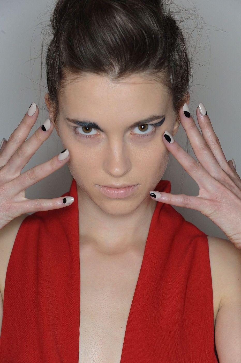 Model Eliza Hartmann backstage at Zero + Maria Cornejo AW15 NYFW