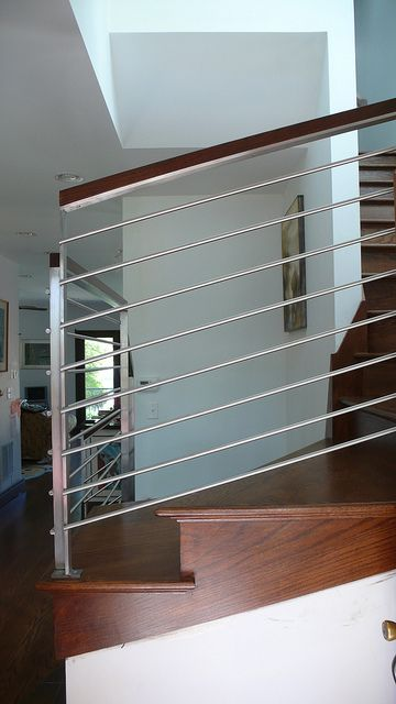 Best Modern Stainless Steel Stair Case Railing Front View 400 x 300