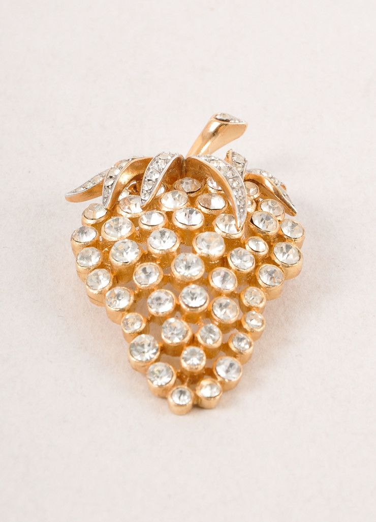 A pen with a sense of humor! Trifari Gold Toned and Clear Rhinestone Embellished Grape Cluster Pin Brooch – Luxury Garage Sale