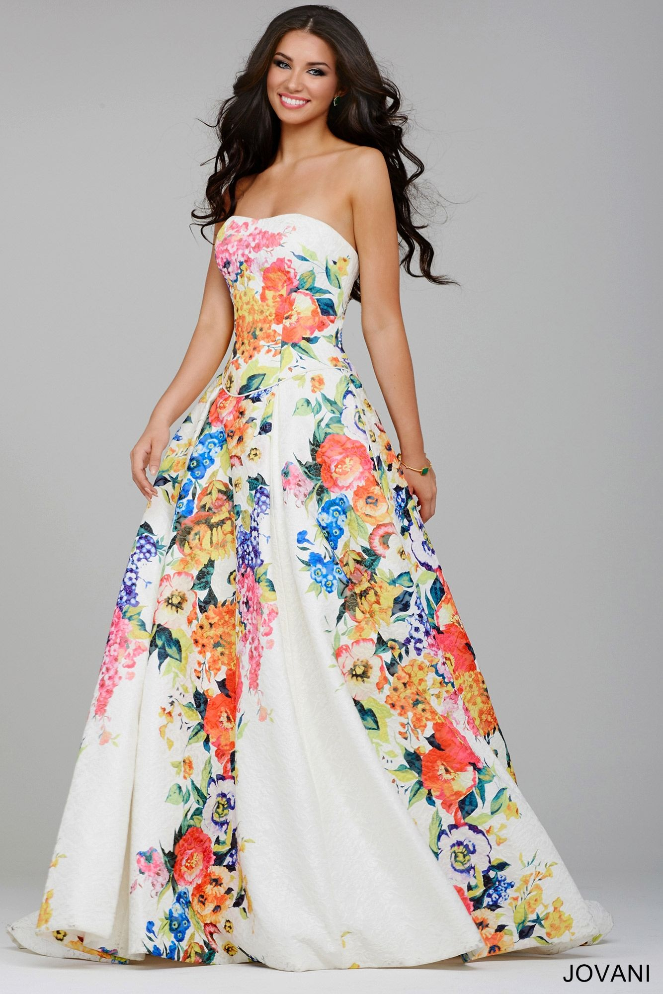 Gorgeous strapless floral ballgown with a drop waist and full box