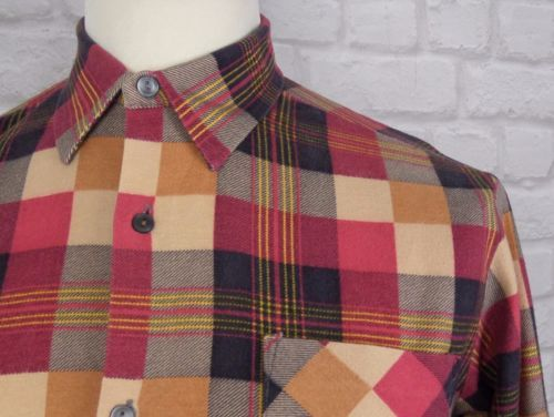 Vintage autumn block check soft #cotton #shirt -m- indie #hipster skater at26,  View more on the LINK: http://www.zeppy.io/product/gb/2/161797322396/