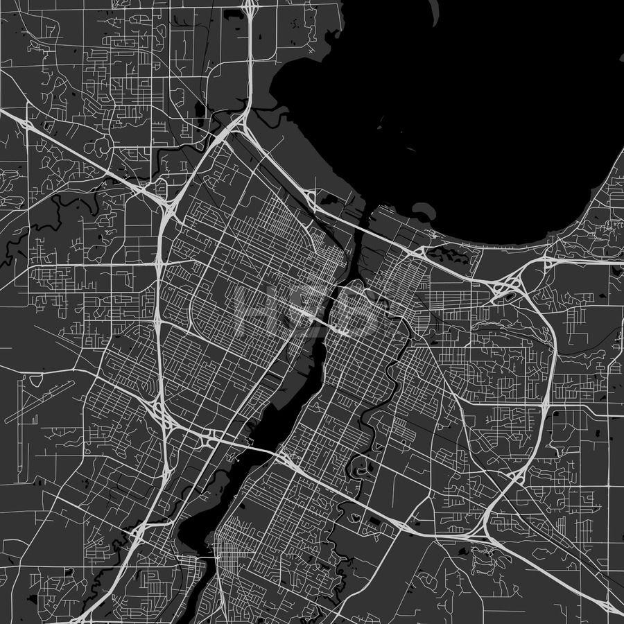 Green Bay Wisconsin Area Map Dark Ui ux