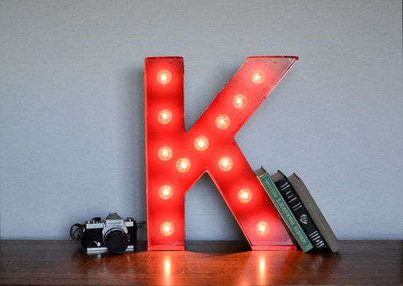Vintage Inspired Marquee Light Letter K By Saddleshoesigns On Etsy 150 00 Marquee Lights Lettering Letter K
