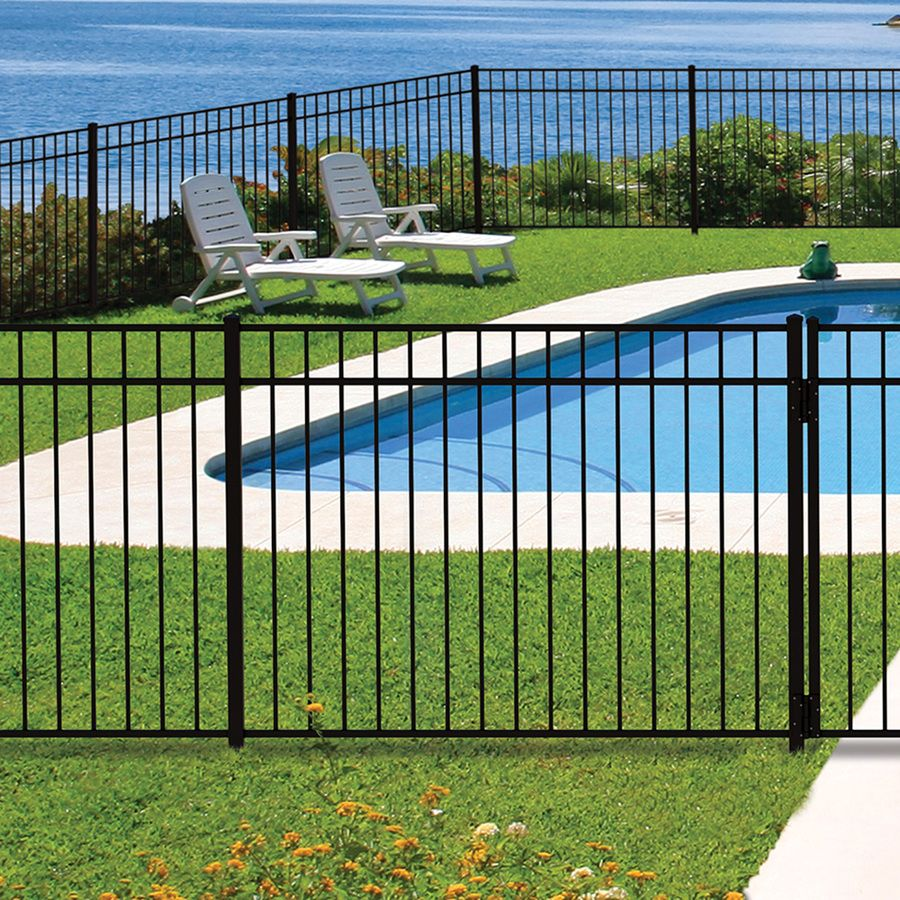 Shop Freedom Pre Assembled New Haven Black Aluminum Decorative Metal Fence Panel Common 6 Ft X 4 5 Ft Actual Pool Fence Aluminum Fence Aluminum Pool Fence