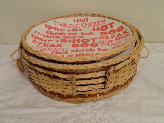 Vintage Wicker Paper Plate Holders with Storage ...