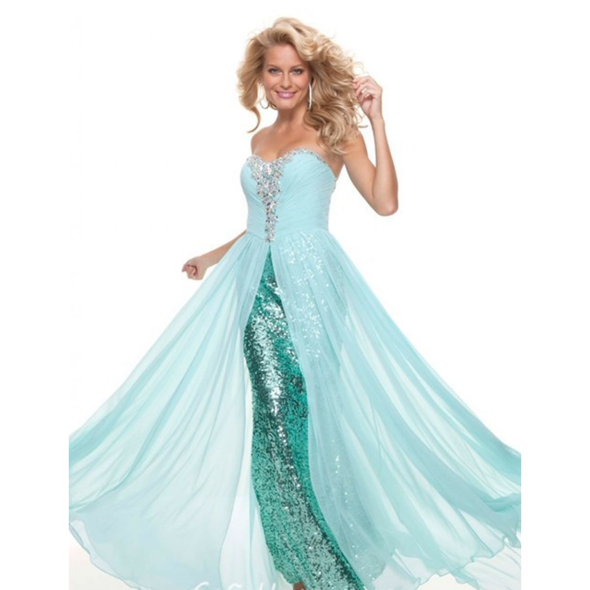 Ships in hrs sheath sweetheart long white sequined flowy prom