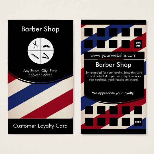 Barber shop loyalty business card punch card barber shop business barber shop loyalty business card punch card colourmoves
