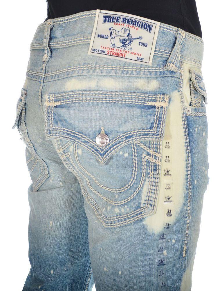 74a469e5b True Religion Mens Jeans Size 33 Straight W Flaps Blue Typho NWT  420   TruReligion  ClassicStraightLeg