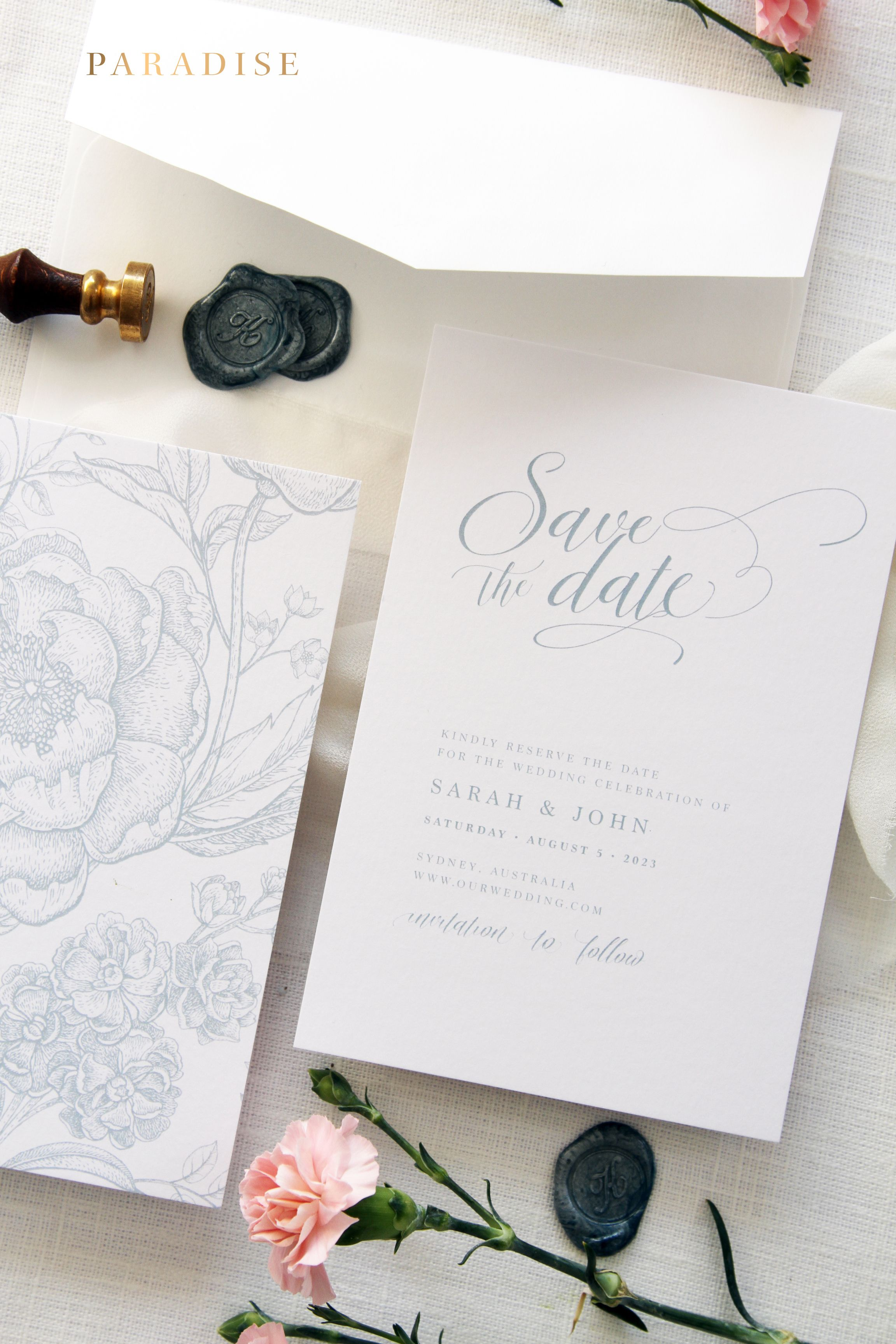 Leilani Dusty Blue Elegant Calligraphy Save the