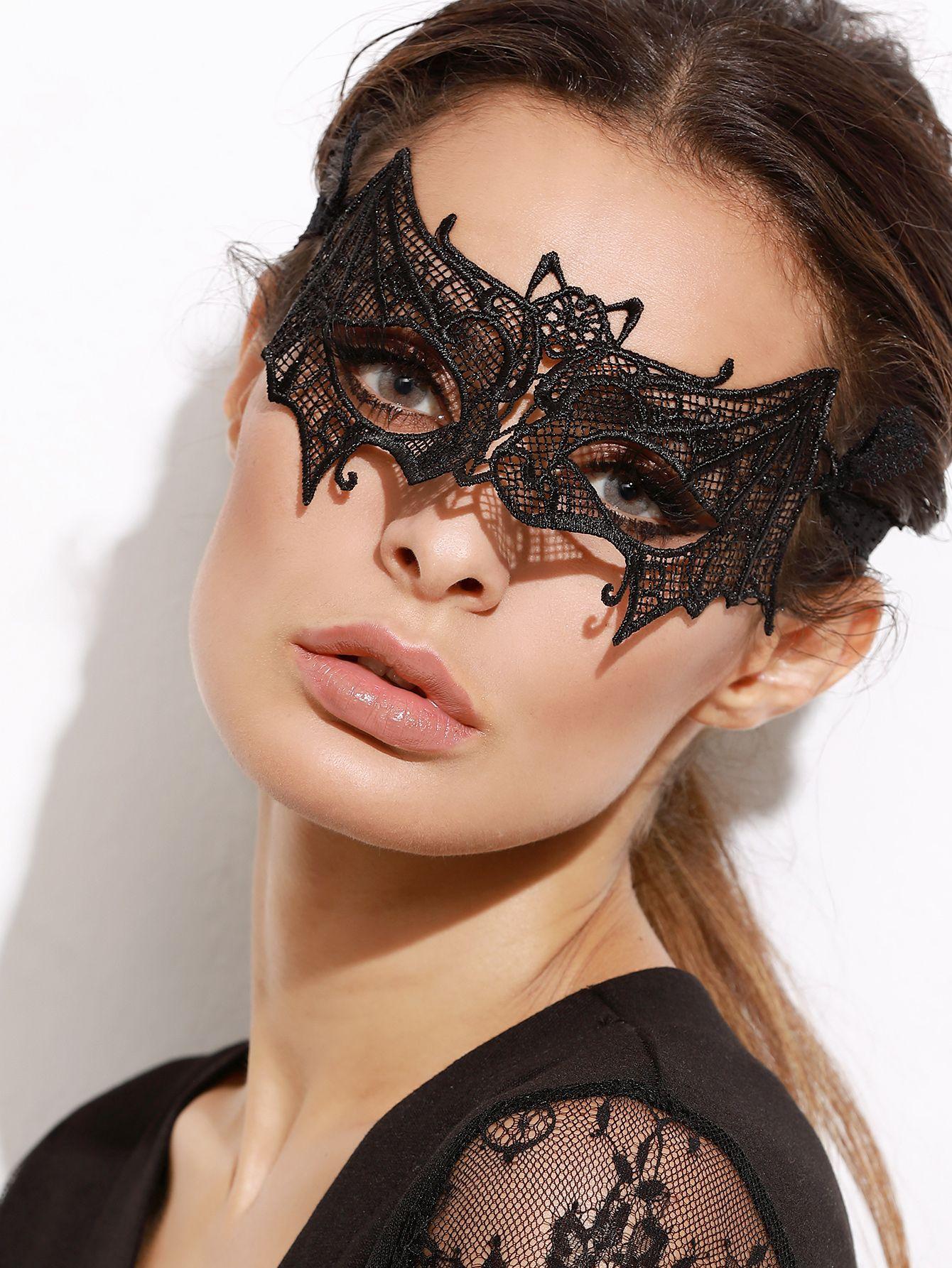Bat Shaped Womens Adult Black Lace Halloween Costume Eye Mask