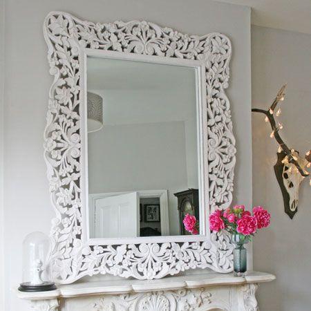 Large Distressed White Mirror Foyer Space Decor Pinterest