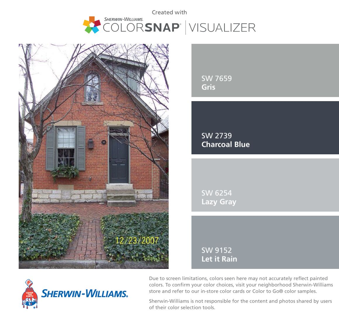 I found these colors with colorsnap visualizer for iphone by sherwin williams gris sw 7659 for Sherwin williams exterior paint color visualizer