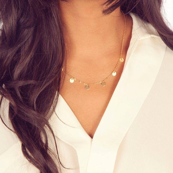 Delicate & Dainty Necklace Featuring Shiny Gold Disc
