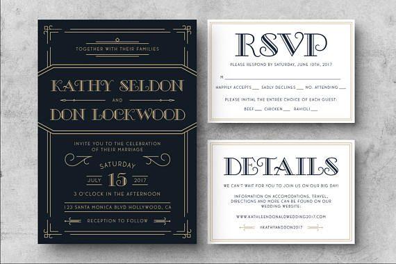 Printable Art Deco Wedding Invitation Great Gatsby Wedding