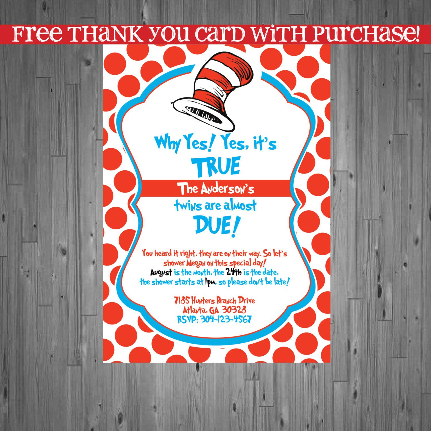 Dr seuss TWINS Baby Shower Invitation Baby by AbbyReeseDesign | Baby ...