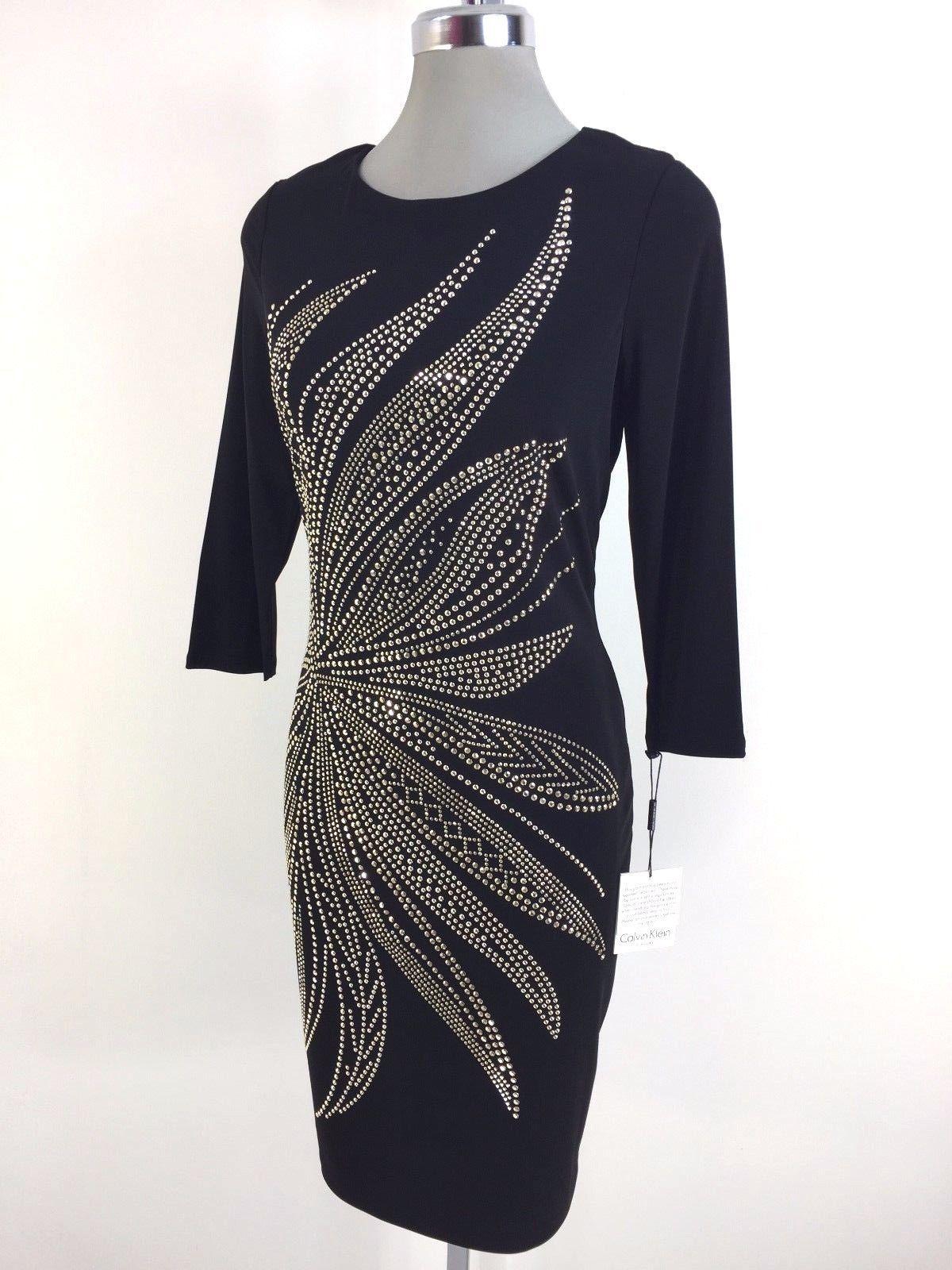 Nice awesome calvin klein elegant nwt black dress flower gold beads