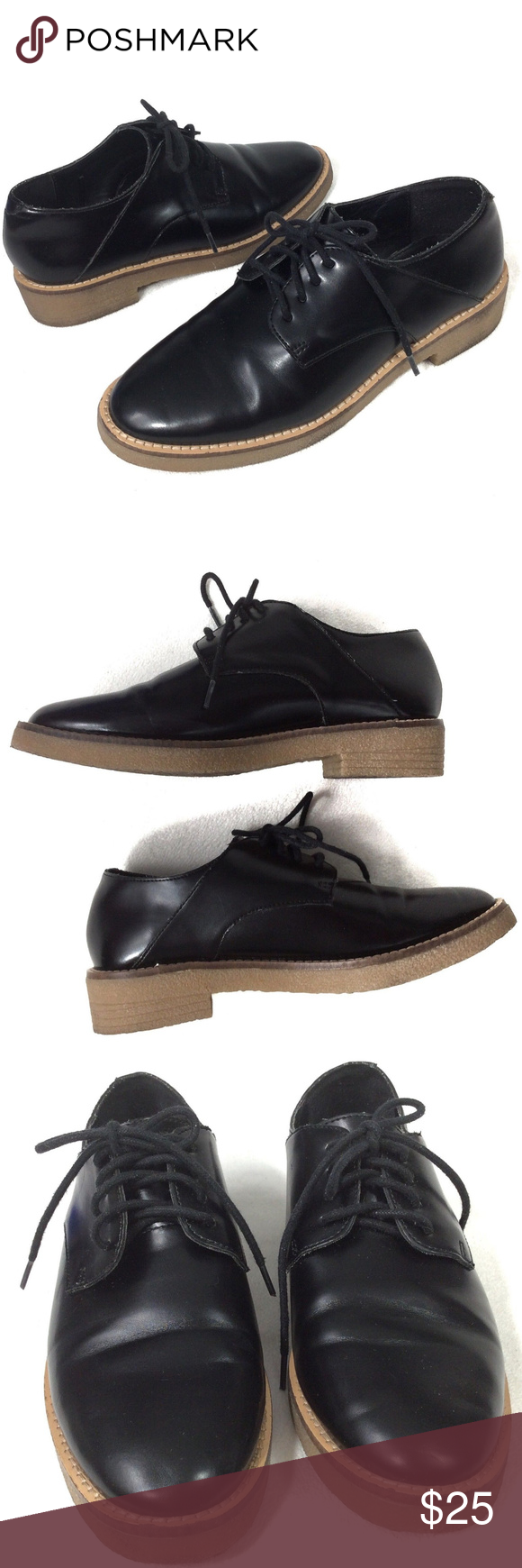 5baf2f79379 F21 Patent Leather Lace Up Oxfords Loafers Black 6 F21 Forever 21 Black  Lace Up Loafers