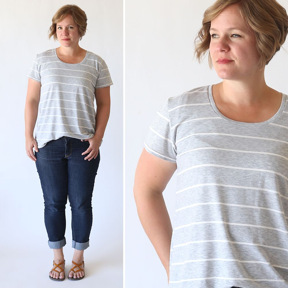 91dcf476530 How to sew a classic women s tee shirt with a relaxed fit. Easy sewing  tutorial and free printable PDF pattern. How to make a t-shirt.