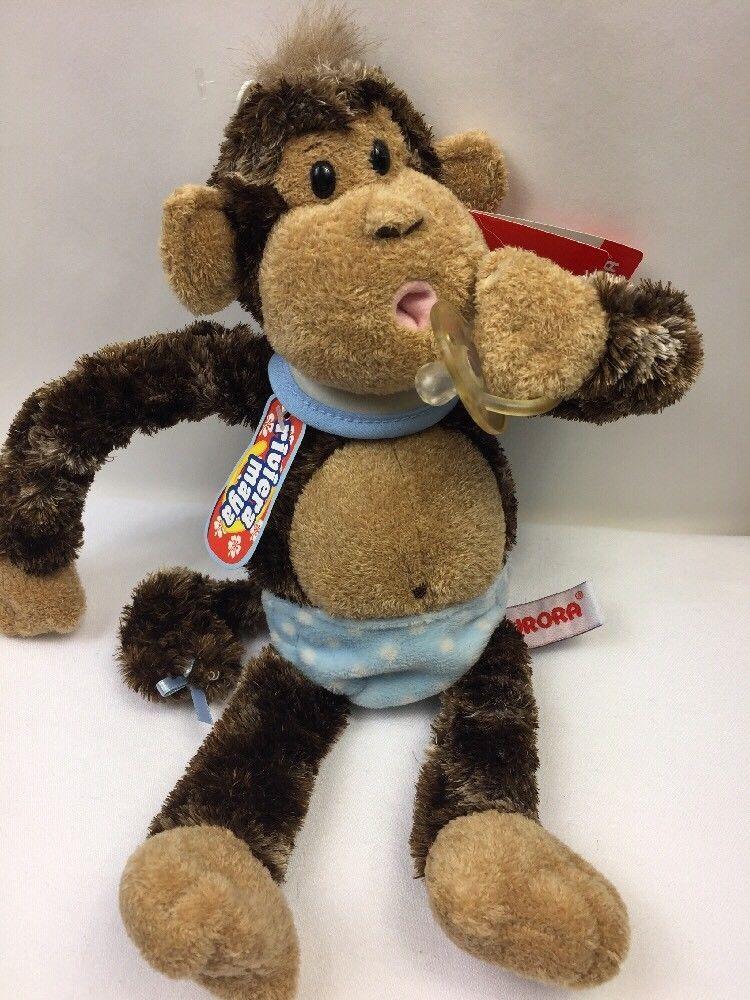 cddbf1b7512 Aurora Cheeky Charlie Goo Goo Baby Monkey Blue Diaper Bib Plush w  Pacifier  Toy  Aurora