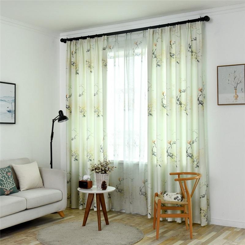 Modern Semi Blackout Curtain Fresh Bird Flower Printed Curtain