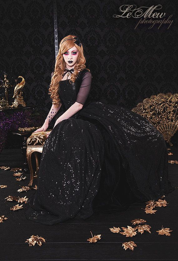 Black Gothic Sparkle Marie Antoinette Gown Custom Size Carnivale Masquerade Costume Gown