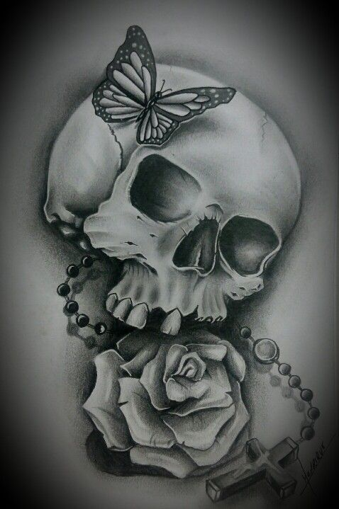 Caveira Com Rosas Skull Drawing Sugar Skull Drawing Skull