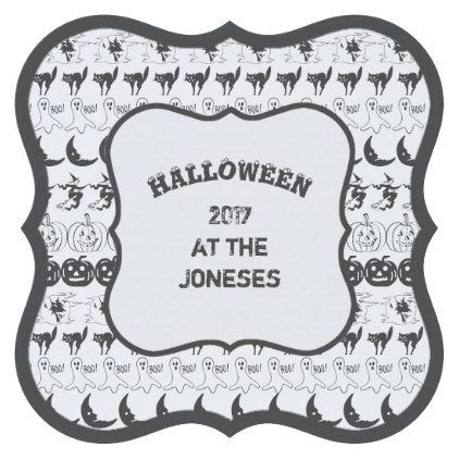 template - #Personalize Black/White Halloween Font Art Paper - halloween template