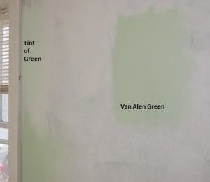 comparison of five pale green paint colors, including benjamin
