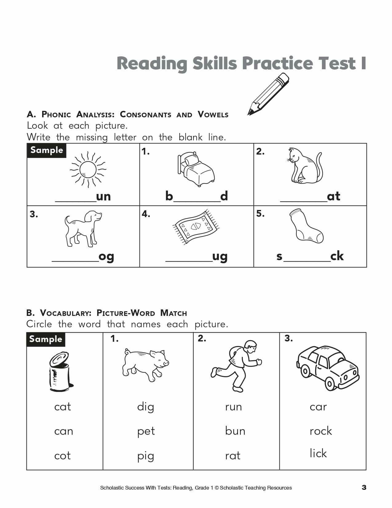 Free Worksheets Ading Tests