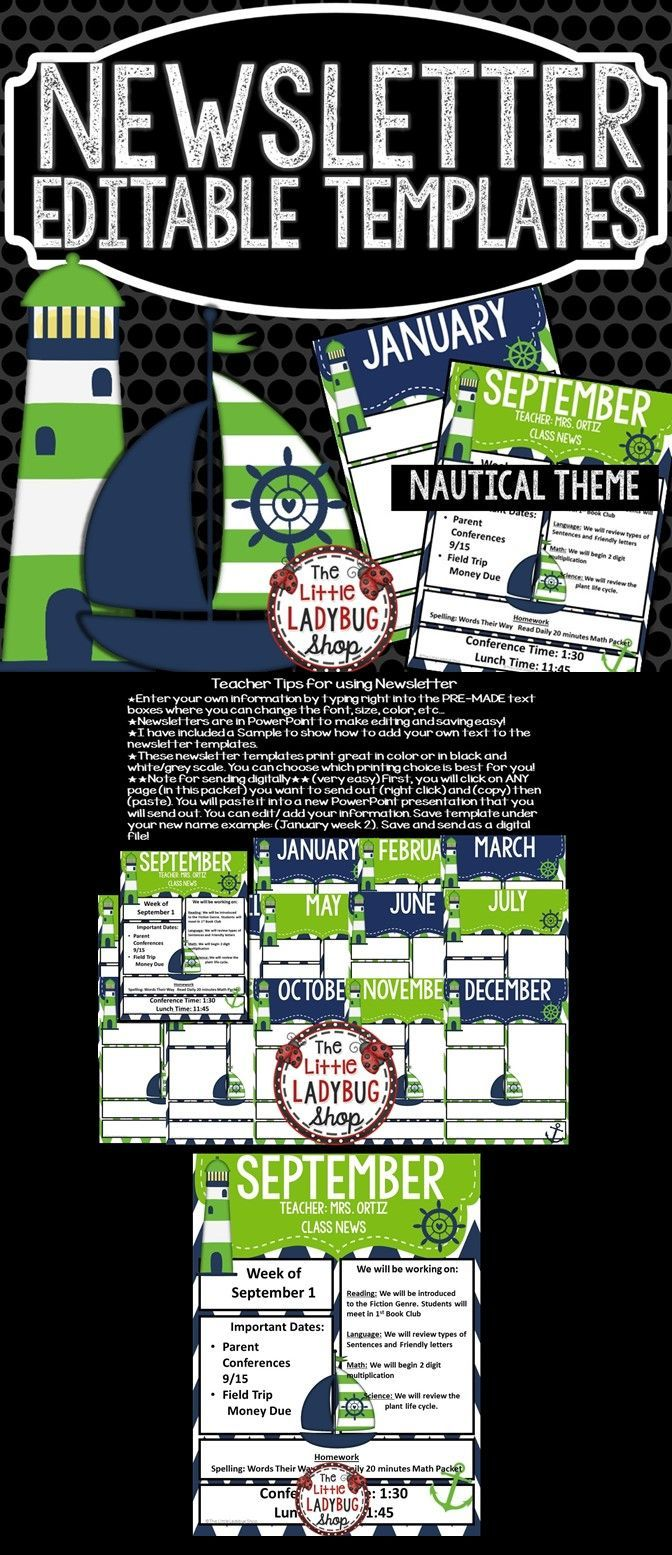 Nautical Theme Classroom Monthly Weekly Newsletter Template - Weekly newsletter template