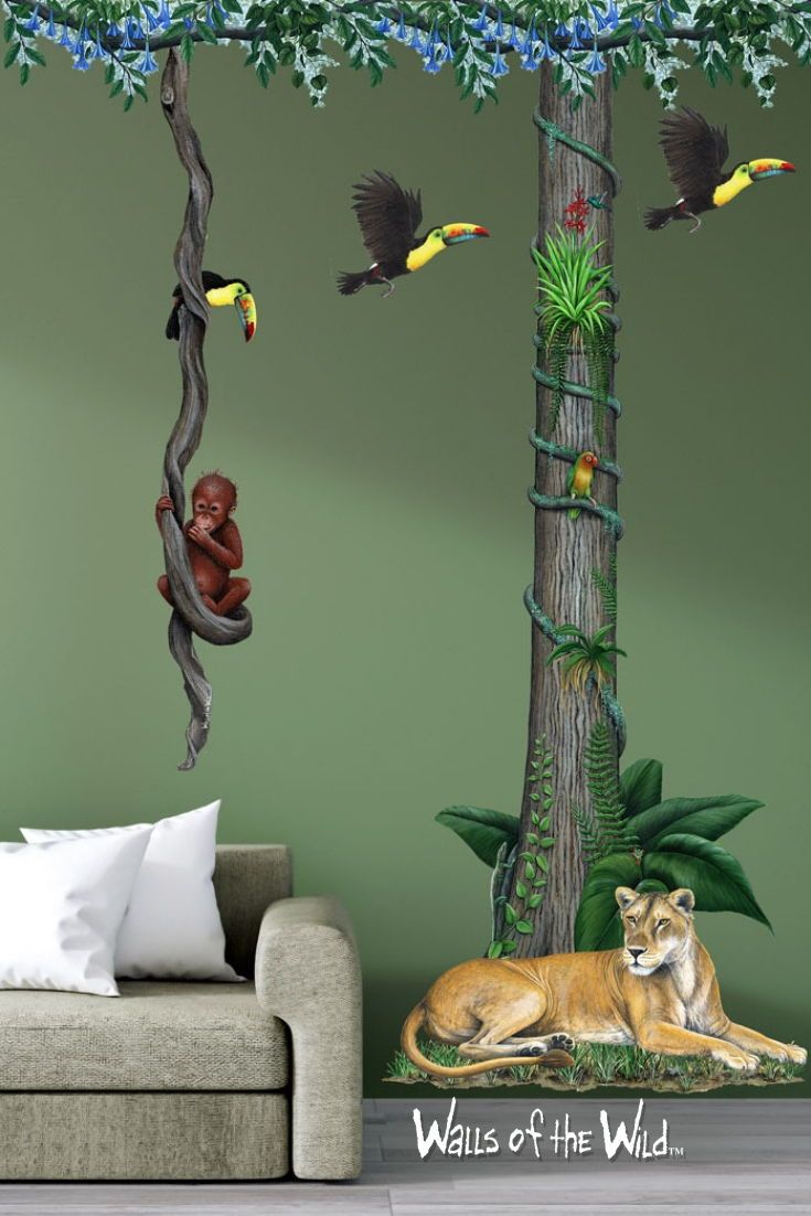 Design A Perfect Jungle Theme Room With These Wall Decals From Original Artwork By Fine Artist Dede Jungle Wall Decals Jungle Wall Stickers Jungle Theme Rooms