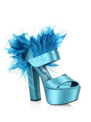 658a7641bf6 PRADA Feather-Trim Satin Platform Sandals.  prada  shoes   Blue Block Heels