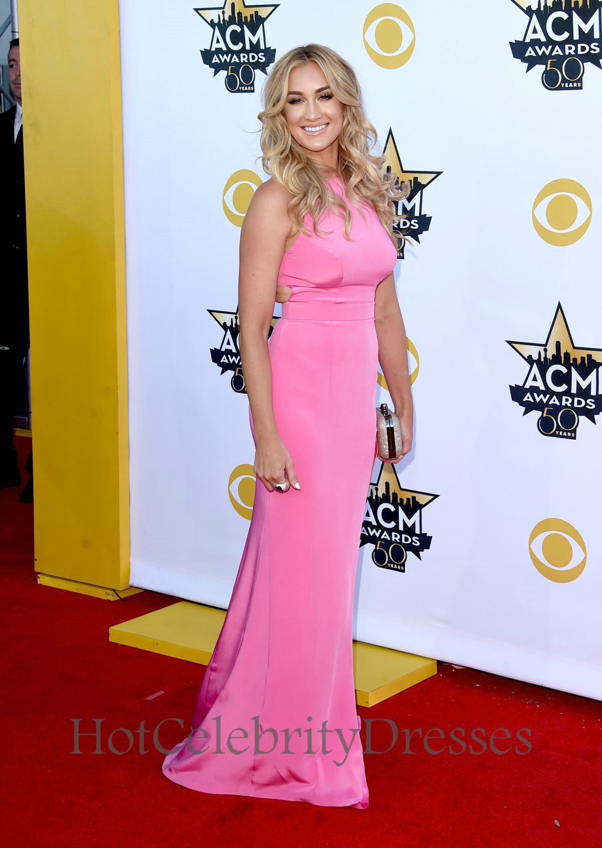 High Neck High Slit Brittany Kerr Pink Gown ACM Awards,ACM Awards ...