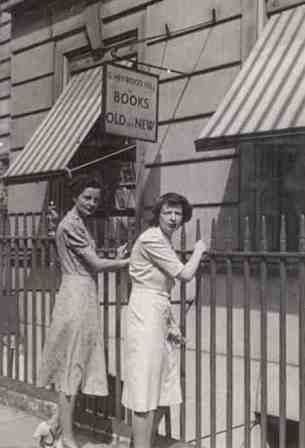 Nancy Mitford and Anne Hill outside Heywood Hill bookshop