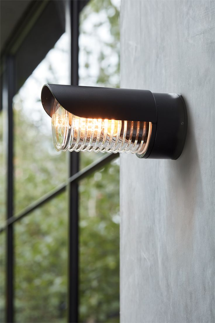 The Beacon Lighting Docker Long Eyelid Ip65 Weatherproof Rated Exterior In Black With Ribbed Glass Bedside Wall Lights Outdoor Patio Lights Beacon Lighting