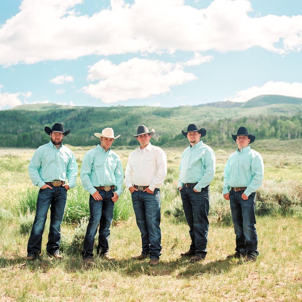 Cody Talia Groomsmen In Cowboy Hats Wranglers Boots And Aqua Shirts Strawberry Valley Utah