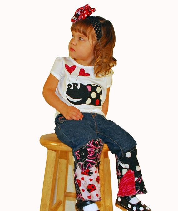 Custom Boutique Ladybug Luv deco applique valentine girls infant jean set deco design ruffle hearts party birthday themed made 2 matche