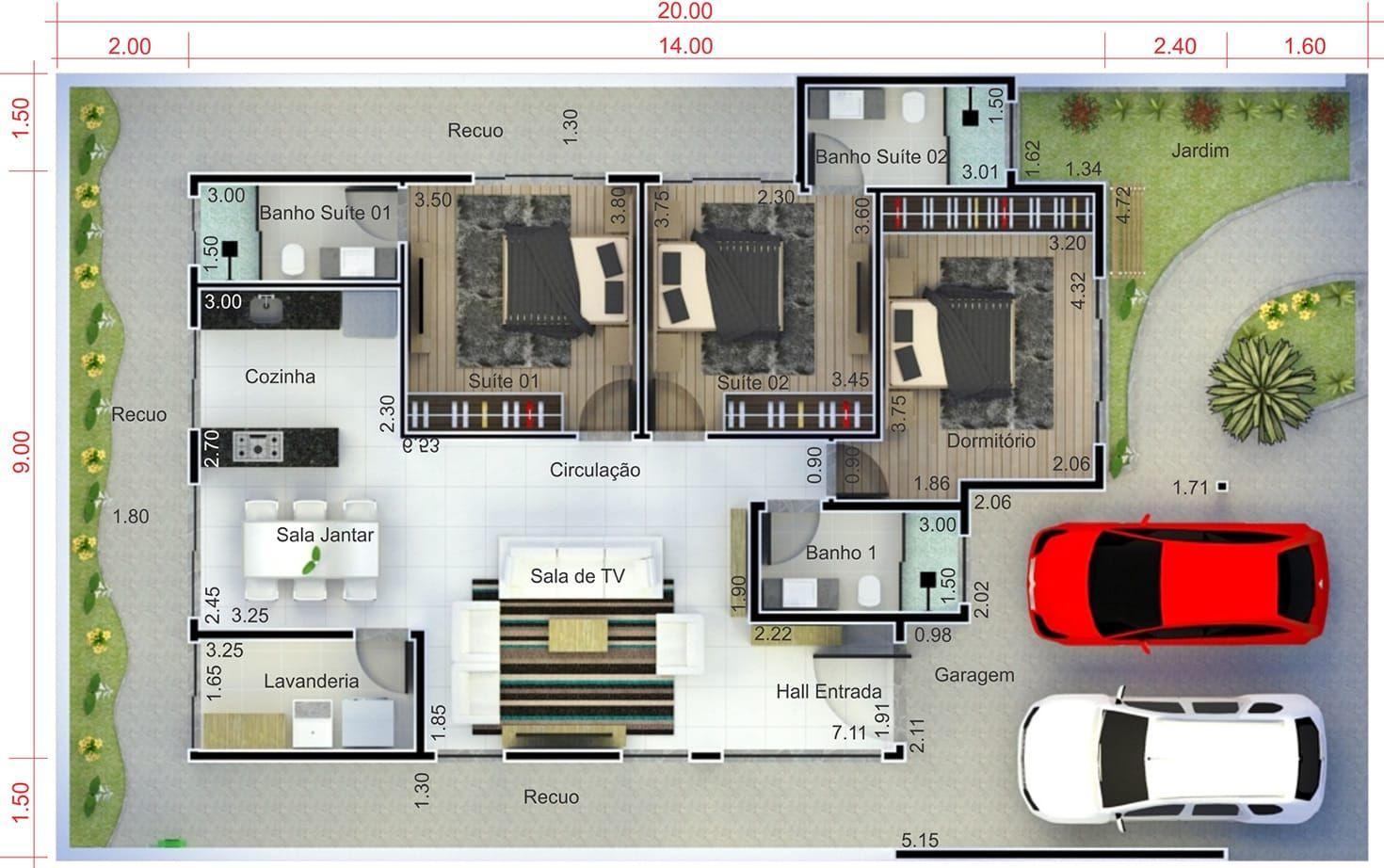Planta de casa com 2 suites e 1 quarto planta para for Casa moderna 7x20