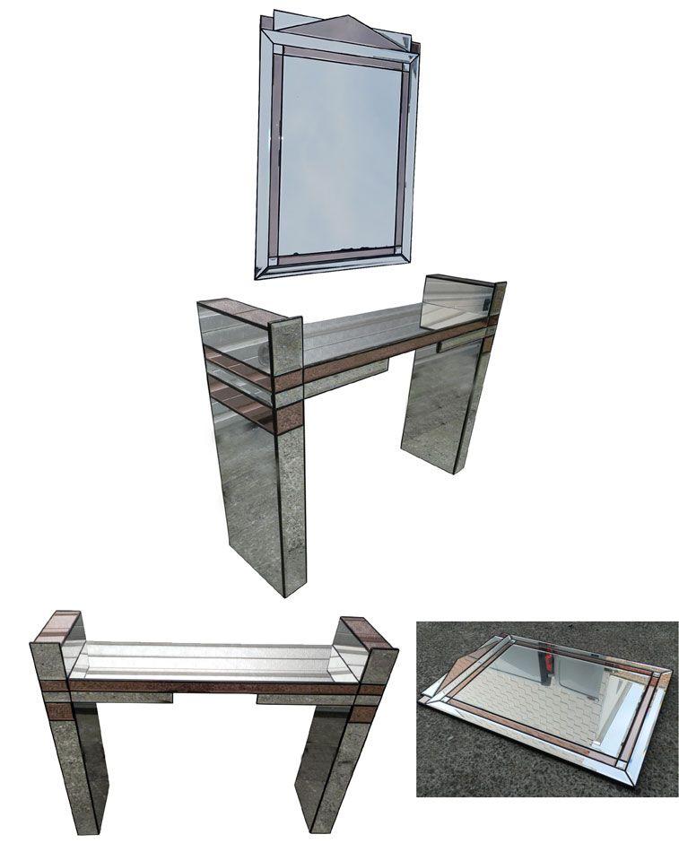 console et son miroir blanc et rose vers 1970 1980. Black Bedroom Furniture Sets. Home Design Ideas