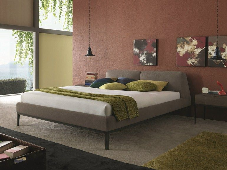 fabric double bed with removable cover with upholstered