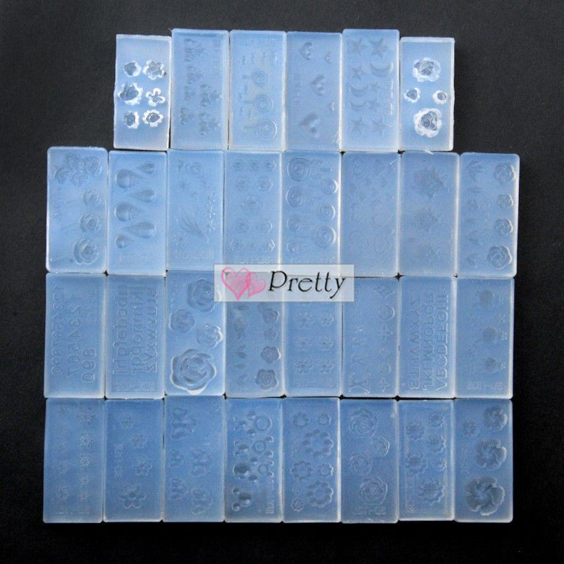 New 30pc DIY Design Nail Art Tips UV Gel Acrylic Powder Silicon Sets Kit 3D Mold #Unbranded