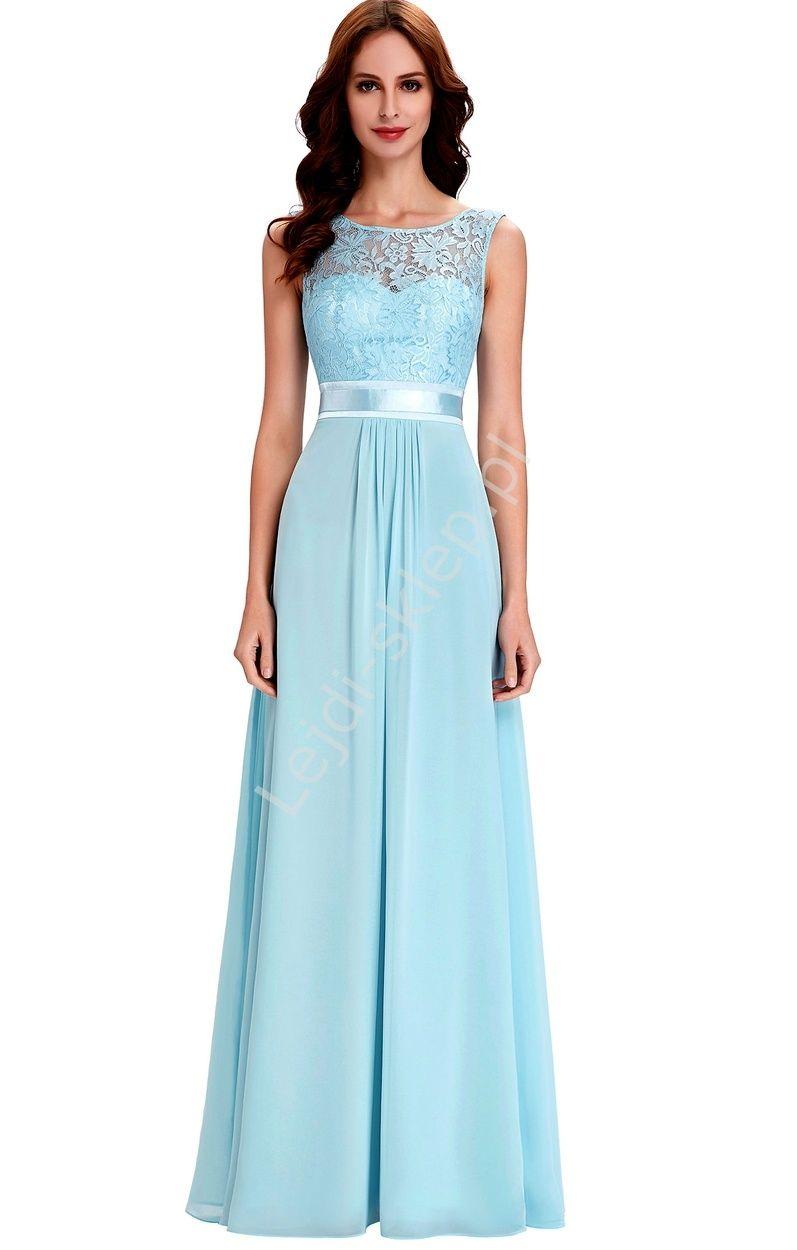544571952a Szyfonowa skromna błękitna suknia z koronką