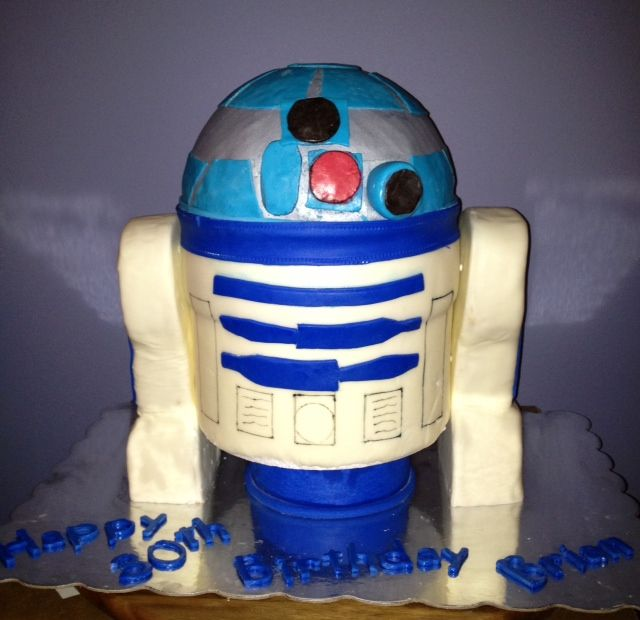 R2D2. Red velvet cake filled with a cheesecake mousse. The arms are made of Rice Krispie treats and it is covered and decorated with a marshmallow fondant