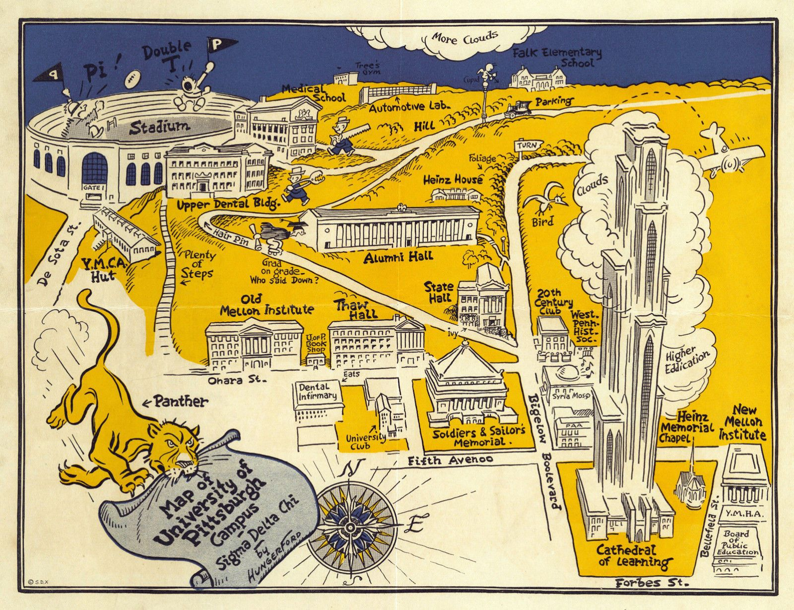 1935 University of Pittsburgh Campus Map Wall Art Poster Print