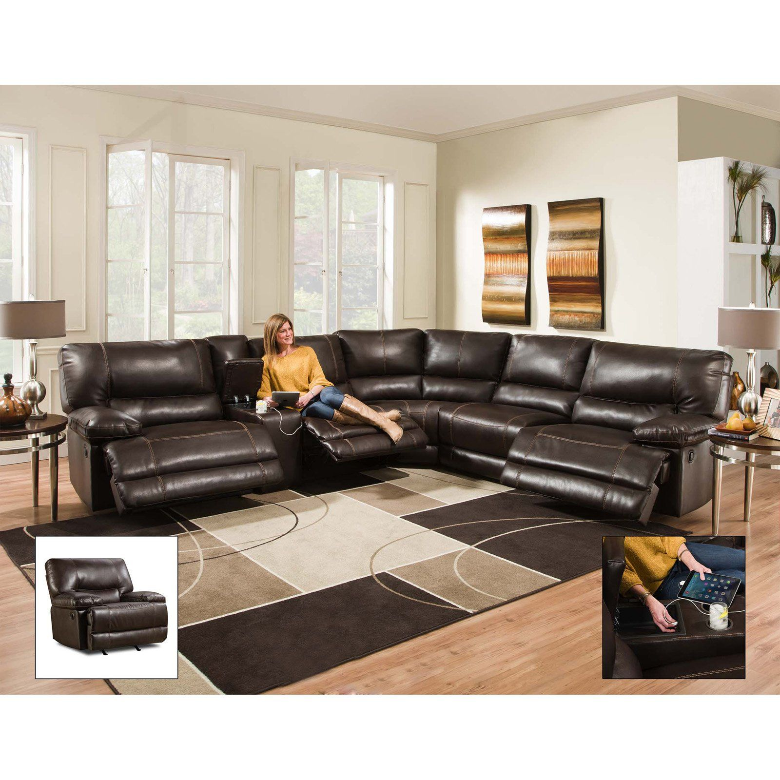 Best Chelsea Home Furniture Bane 6 Piece Sectional Recliner 400 x 300
