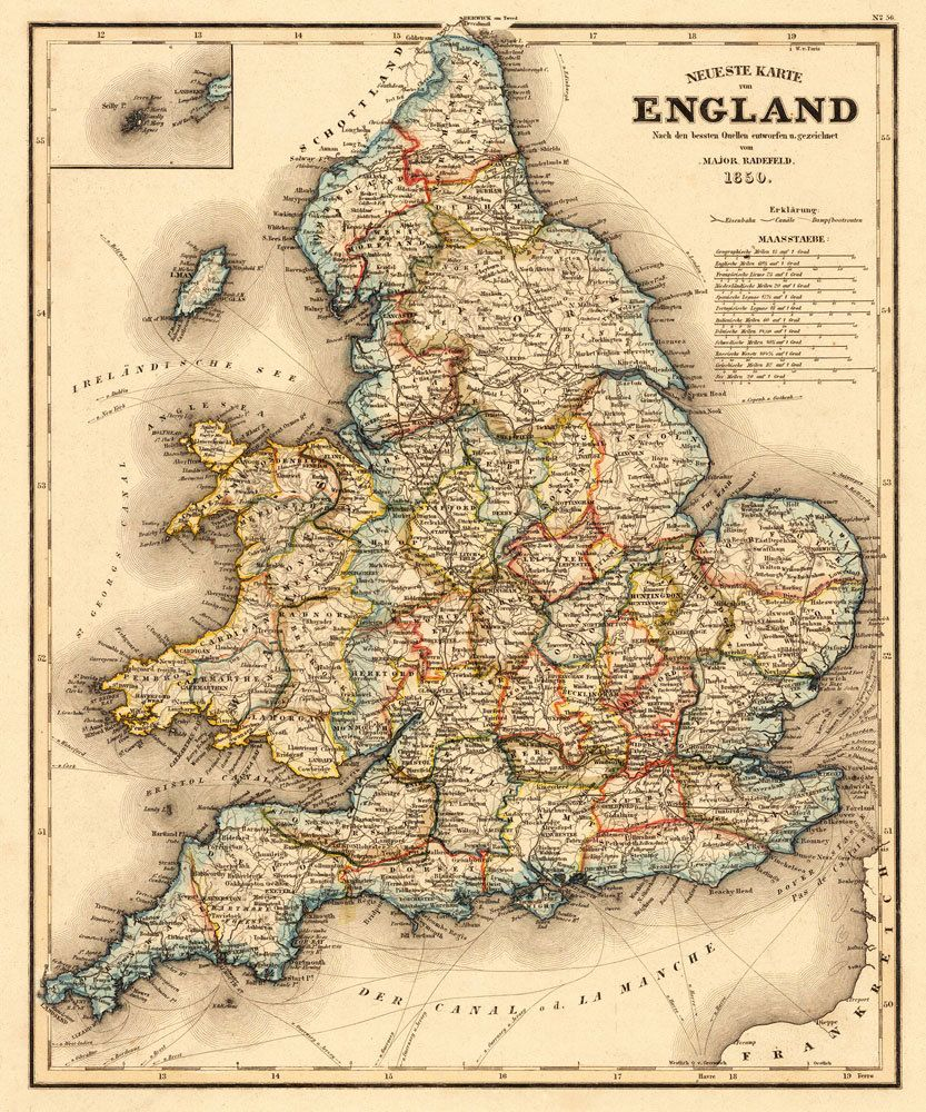 german map of the BRITISH ISLES vintage poster POLITICAL GEOGRAPHIC 24X36